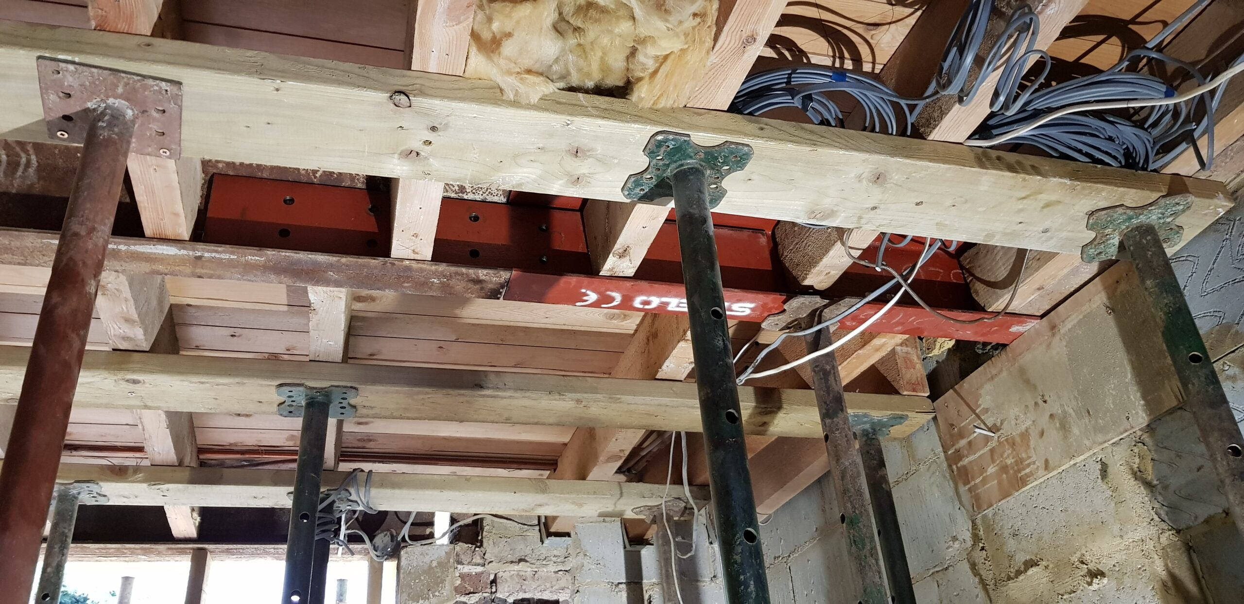 Construction works - fitting steel in the basement