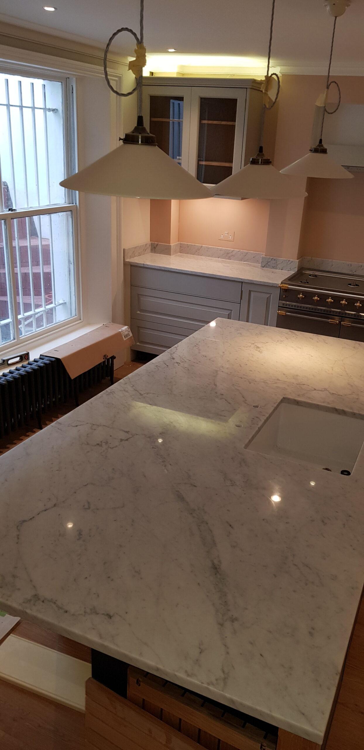 Refurbished kitchen stone worktops